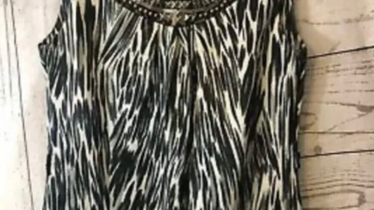 Ladies BHS Black & Beige Blouse Top With Metal Neck Design Size 8 Petite