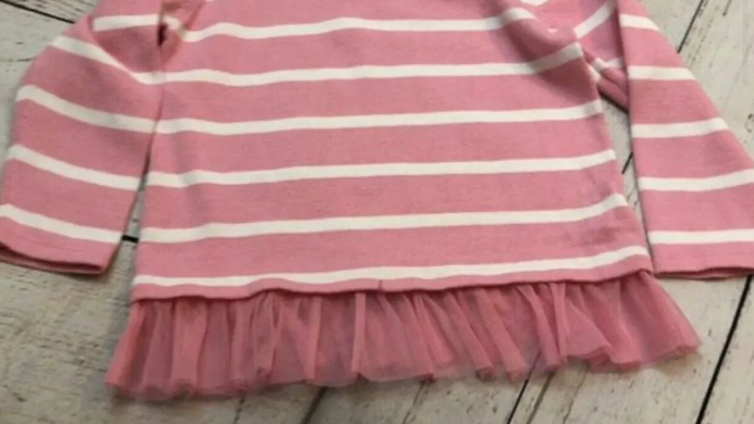 Girls Matalan Pink Stripe Long Sleeve  Top With Lace Hem Age 18-23 Months