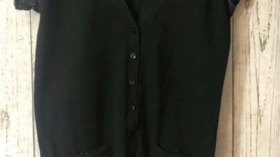 Women's / Ladies Mango Suit Black Cardigan With Spotted Short Sleeves Size 8