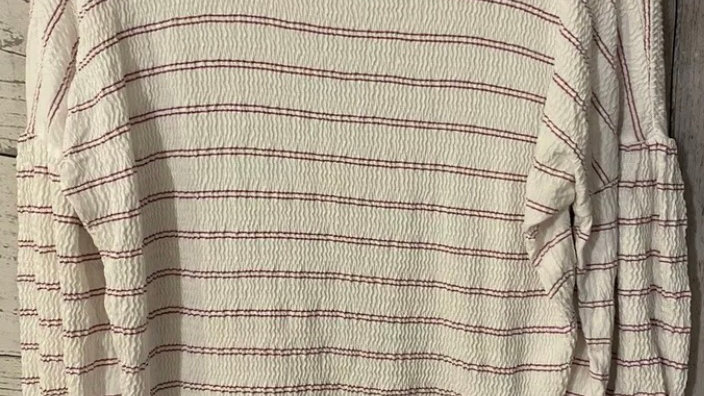 Womens / Ladies French Connection White Purple Stripe Long Sleeve Top Size Xs