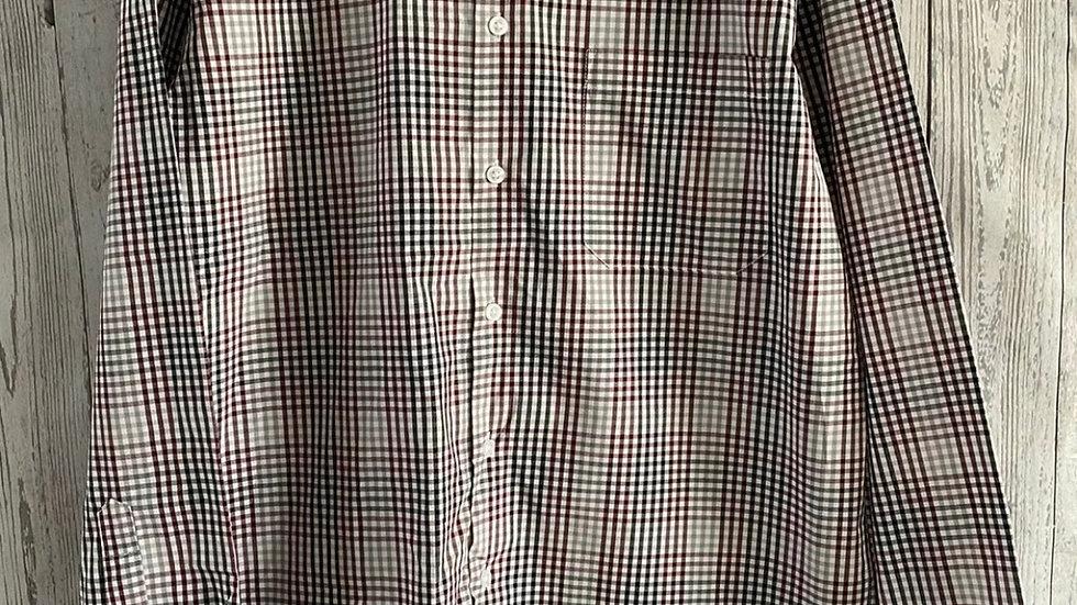 Mens Nicole Miller New York Burgundy Black Check Long Sleeve Shirt Size Small