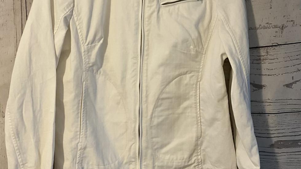 Womens / Ladies Henri Lloyd Denim White Zip Jacket Size 3 Uk 12 Excellent