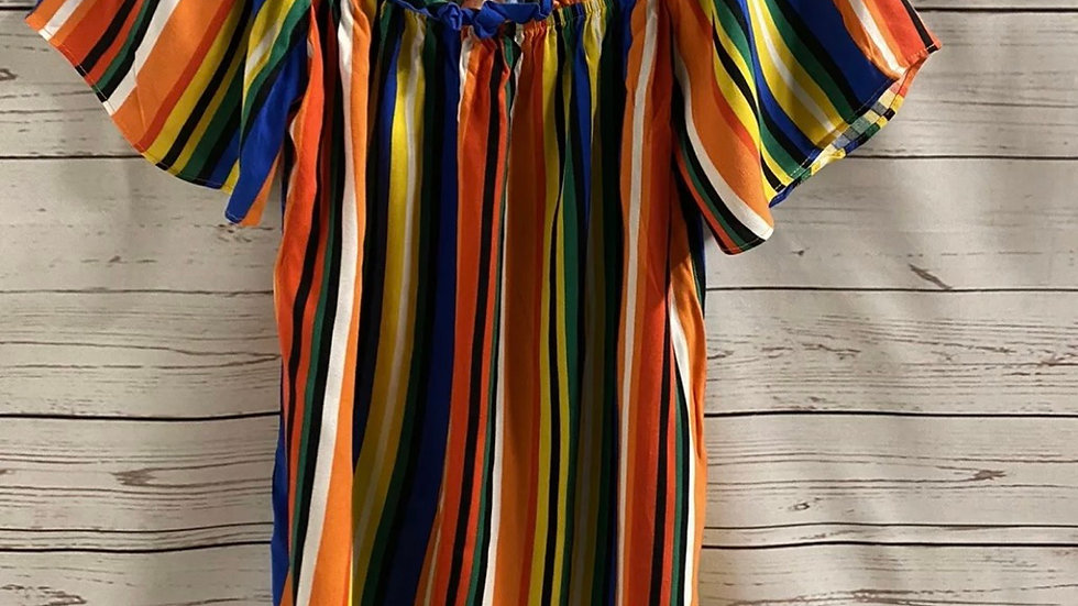 Womens / Ladies Matalan Multi Coloured Stripe Top Size 8 - Immaculate