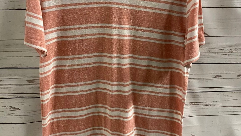 Mens Gap Pink White Stripe Short Sleeve T-Shirt Size medium Good Condition