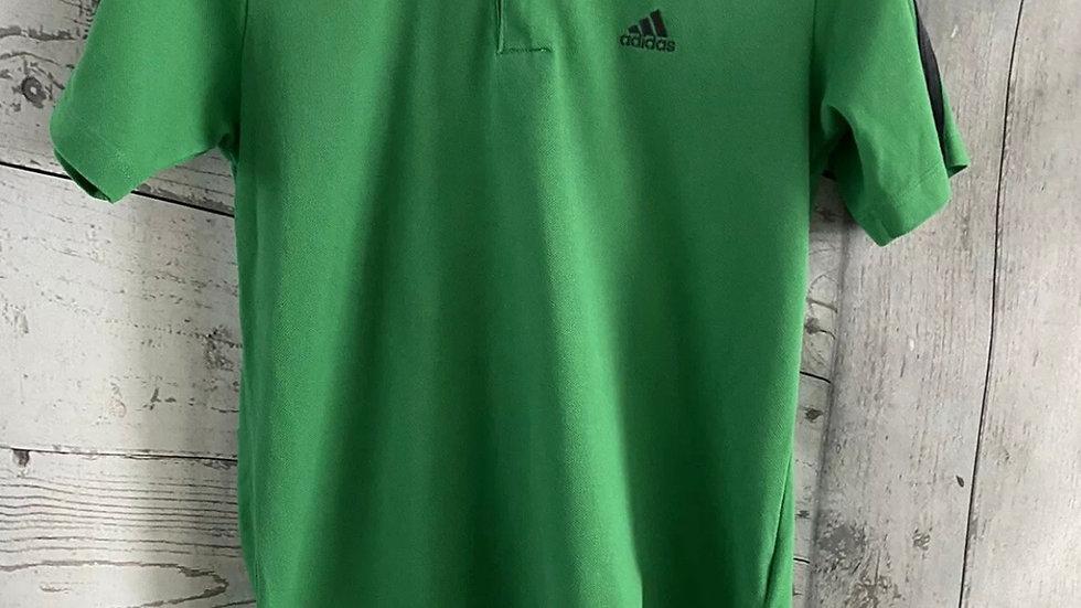 Boys Adidas Green Short Sleeve T-Shirt Age 13-14 Years fair Condition