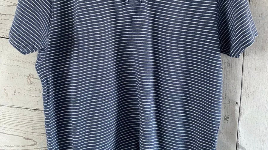 Mens Fat Face Stripe Blue & White Short Sleeve T-Shirt Small - Excellent