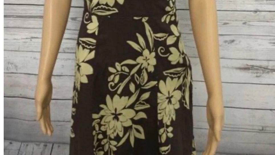 Women's / Ladies Monsoon Brown & Yellow Cotton V Neck Maxi Floral Dress Size 8