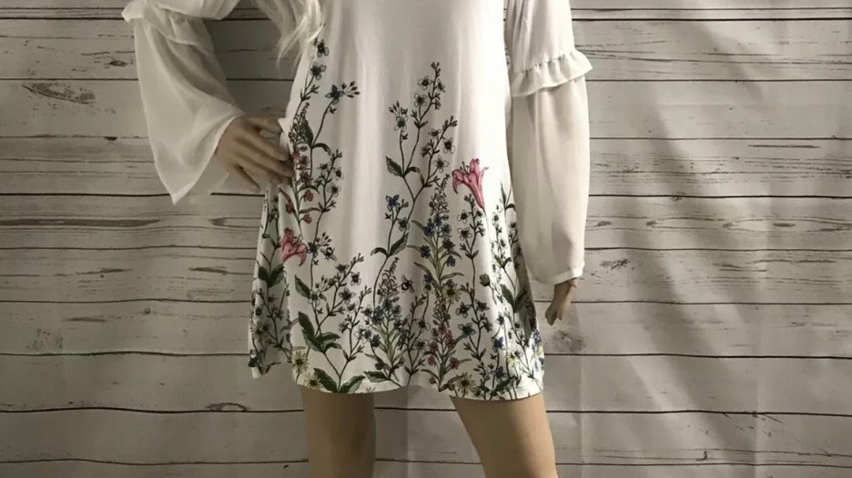 Womens / Ladies Marks & Spencer White Floral Tunic Top Dress Size 12 Excellent