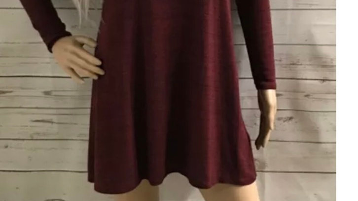 Women's / ladies burgundy divided long sleeve sweater dress size 8 immaculate