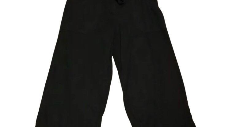 Womens / Ladies Atmosphere Black Linen Cropped Trousers Size 8 Immaculate
