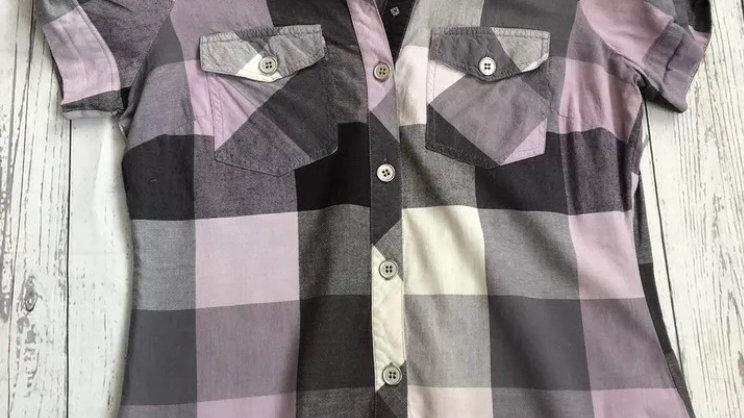 Womens / Ladies Next Purple Grey Check Shirt Size 8 Excellent Condition