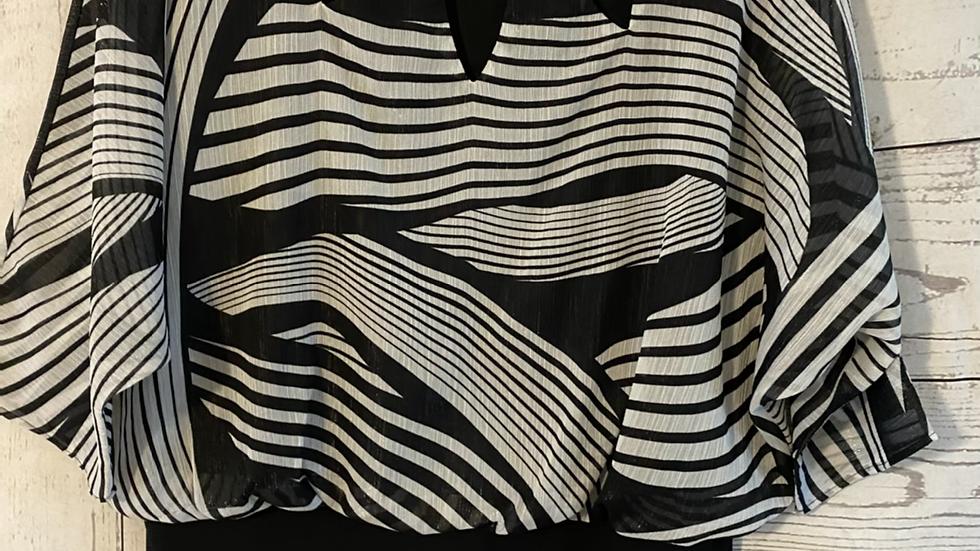 Womens / Ladies Debenhams Julien Macdonald Black White Blouse Top Size 14