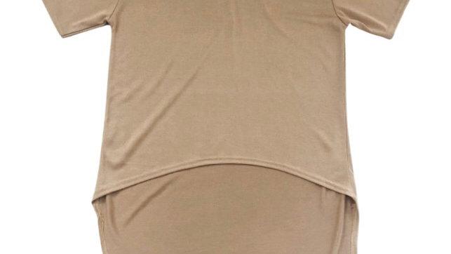 Womens / Ladies Pretty Little Thing Camel Marl Drop Hem Top Size M/L New Tags