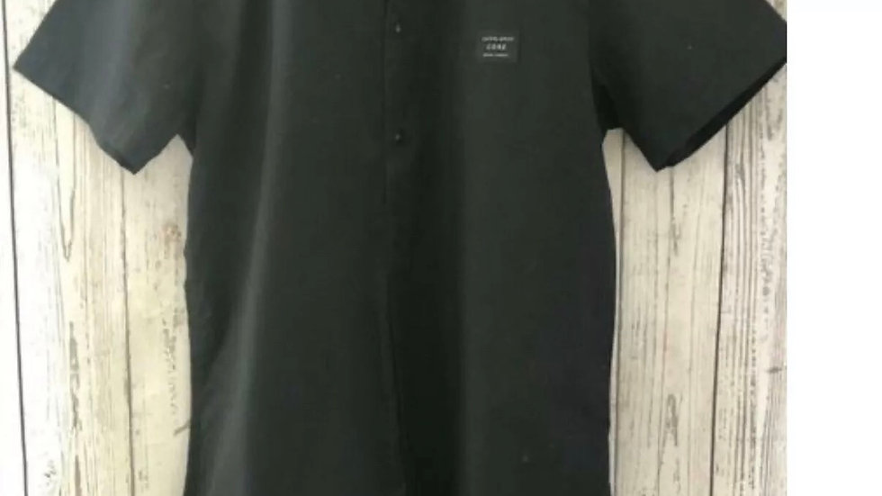 Men's Jack & Jones Core Short Sleeve Black Shirt Size Medium Regular Fit