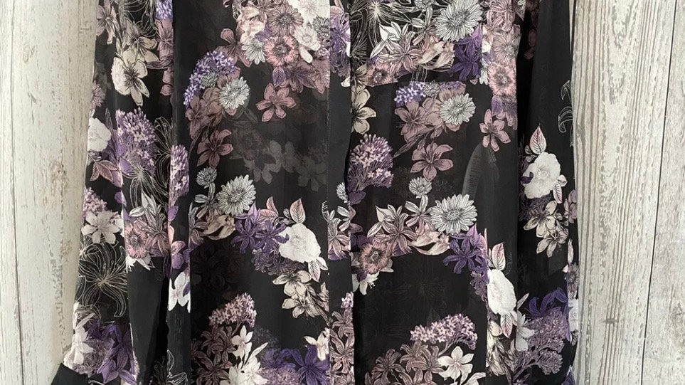 Womens Ladies New Look Black & Purple Long Sleeve Blouse Dress Size 8 Immaculate