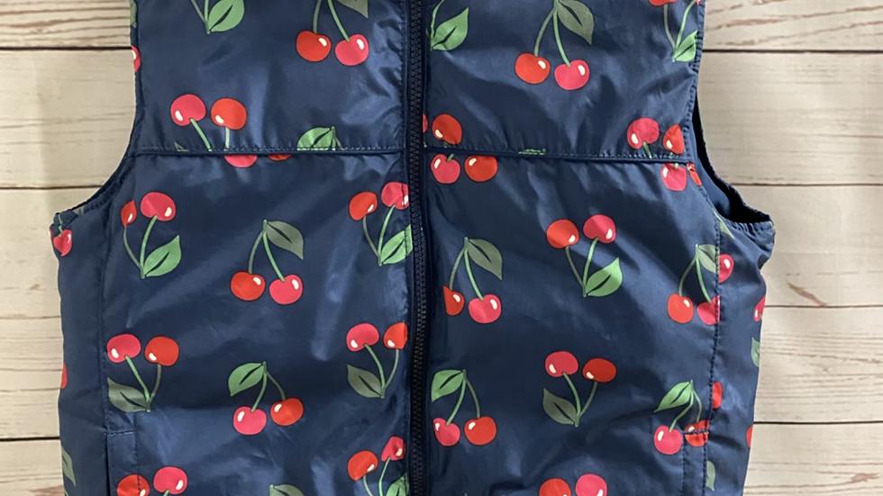 Girls Gap Navy & Cherry Print Reversible Padded Gilet Bodywarmer 12-13 Years