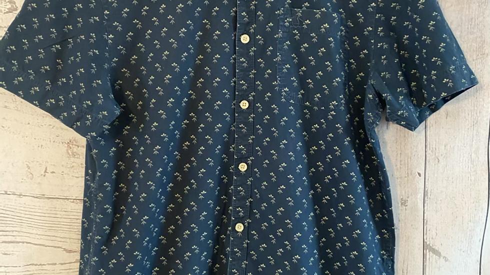 Mens Penguin Blue Floral Print Short Sleeve Shirt Size Medium - Excellent