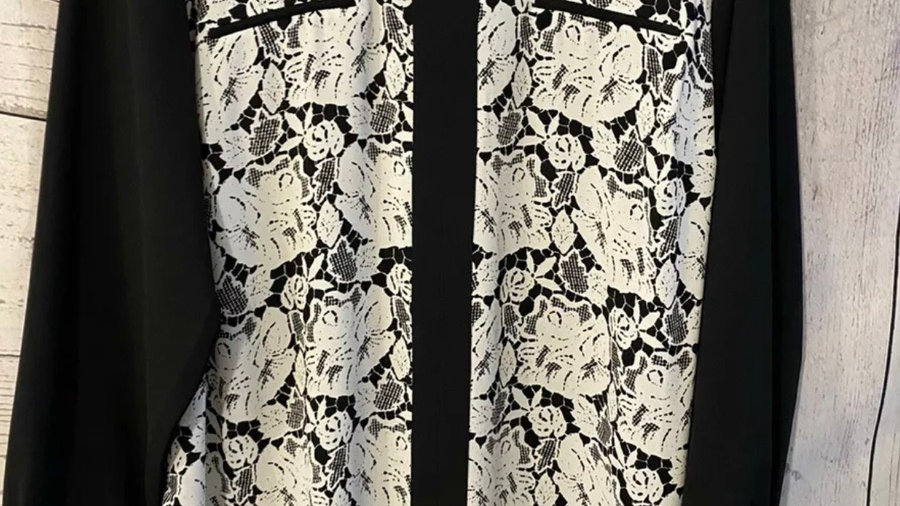 Womens / Ladies Marks & Spencer Black & White Floral Blouse Top Size 16