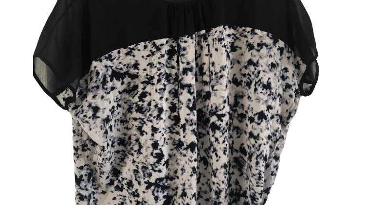 Womens / Ladies Warehouse Black Blue Mix Blouse Top Size 10 Immaculate