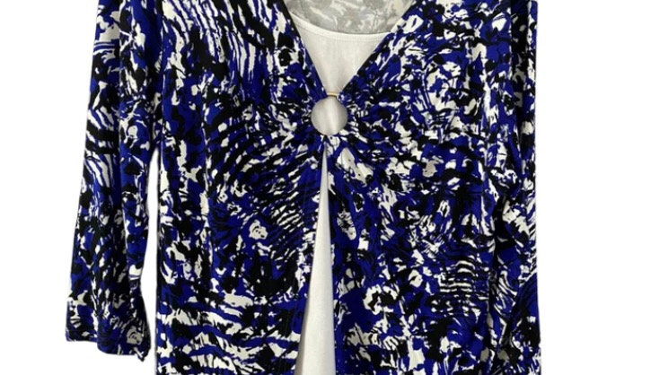 Womens / Ladies Chianti Blue & White 3/4 Sleeve Top With Split Front Size 12 New
