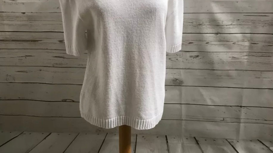 Womens / Ladies Glimpse Design White Knitted Short Sleeve Jumper Size M/L NEW