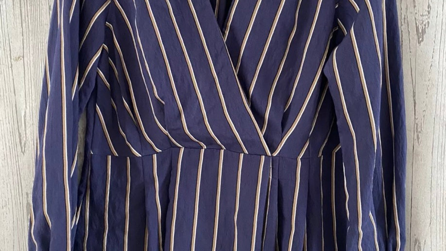 Womens / Ladies Topshop Blue Stripe Blouse Top Size 10 - New With Tags7.