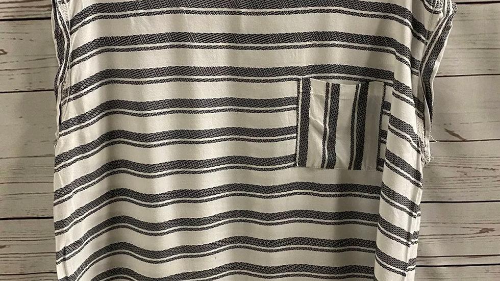 Womens / Ladies Matalan Black White Stripe T-Shirt Blouse Size 18 Immaculate