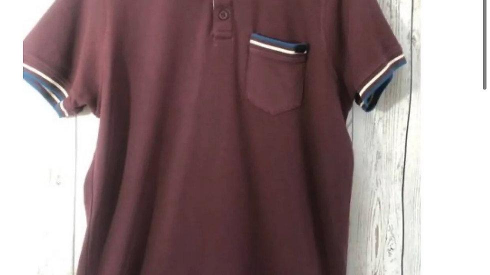 Men's Cross Hatch Black Label Short Sleeve Burgundy Polo T-Shirt Size Large