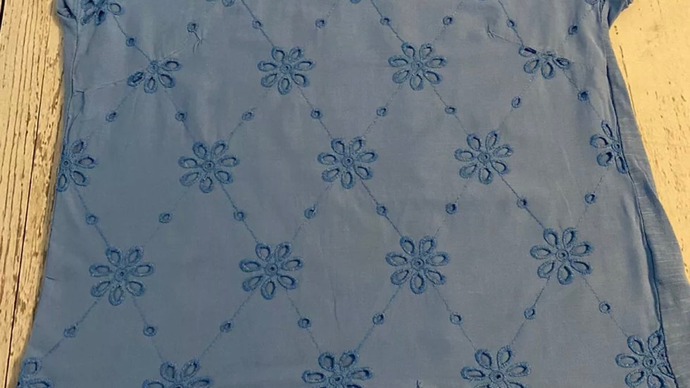 Girls Marks & Spencer Blue Short Sleeve Top Floral 12-13 Years Excellent