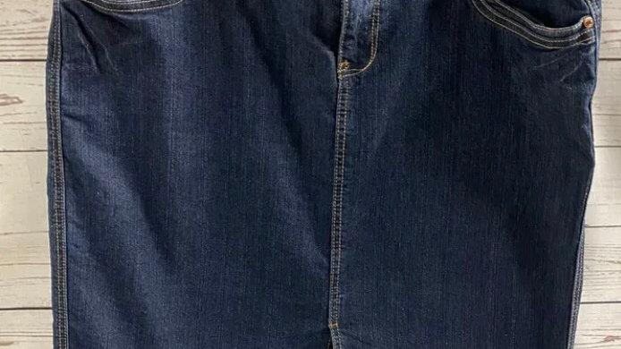 Womens / Ladies House Of Denim Blue Denim Pencil Skirt Size 18 Immaculate