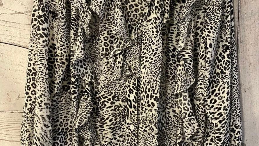 Womens / Ladies Glamorous Black & White Leopard Print Blouse Top Size 10