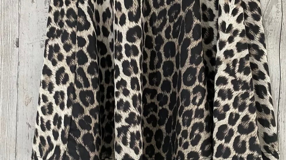 Womens / Ladies Quiz Size 8 Leopard Print Skater Skirt Immaculate