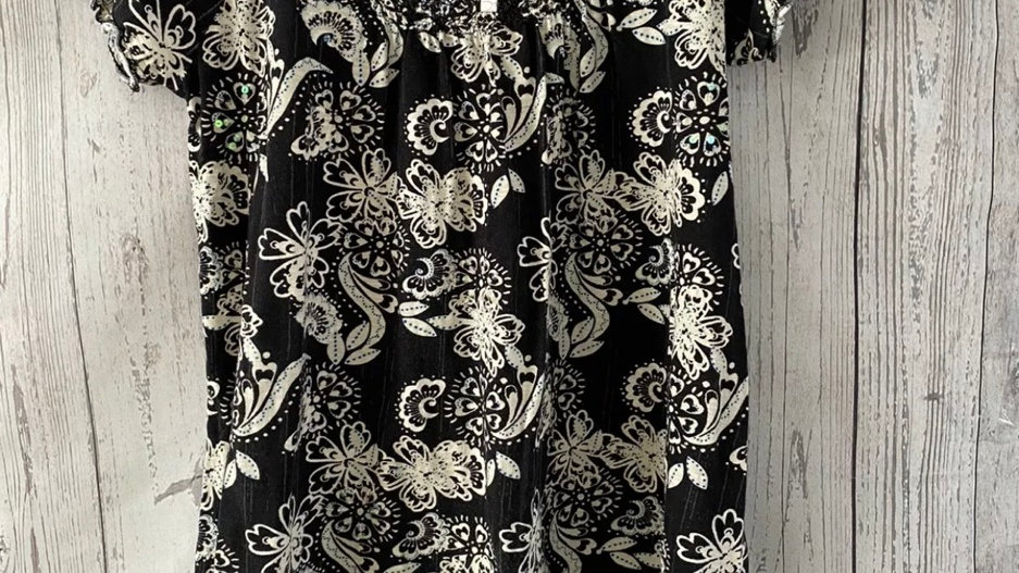 Womens / Ladies Next Black Beige Floral T-Shirt Top Size 10 Immaculate Condition