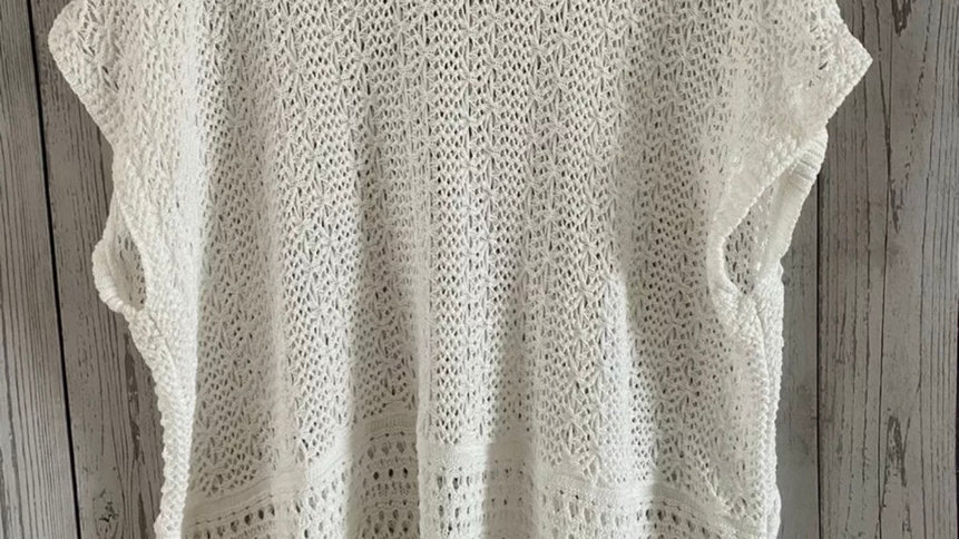 Womens / Ladies Topshop White Knitted / Crotchet Short Sleeve Top Size Small