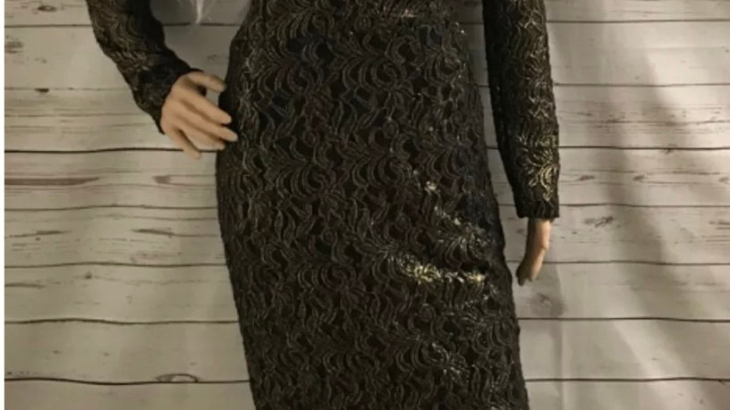 Womens / Ladies Next Gold Black Bodycon Long Sleeve Dress Size 12 new With Tags
