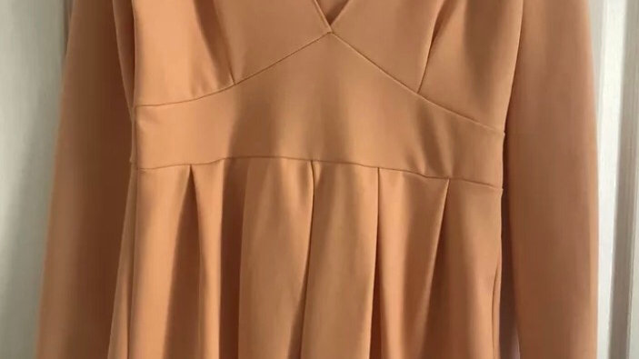 Womens / Ladies Missguided Peach Long Sleeve V Neck Dress Size 14 New With Tags