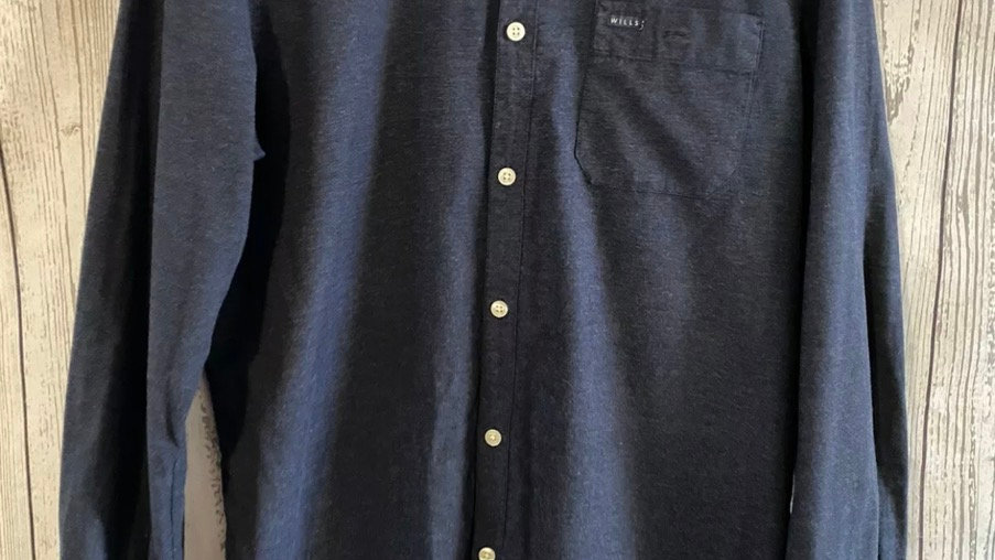 Mens Jack Wills Navy Long Sleeve Shirt Classic Fit Size Medium - Excellent