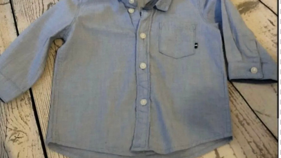 Baby Boys H&M Blue Long Sleeve Shirt Age 4-6 Months Immaculate Condition