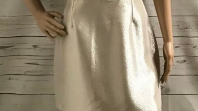 Womens / Ladies Warehouse Gold Sparkle Short Sleeve Dress Size 14 Immaculate