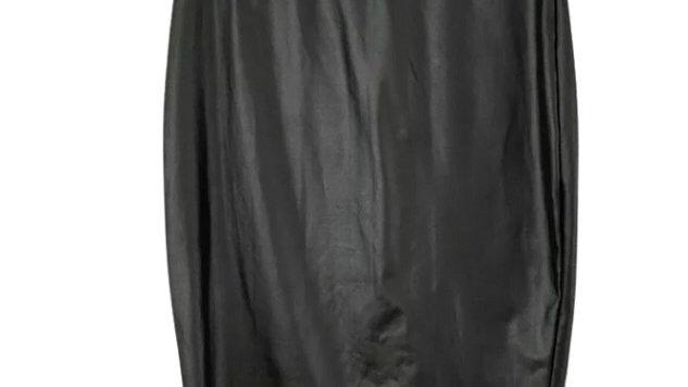 Womens / Ladies Glamour Girl Black Pvc Look Pencil Elasticated Skirt Size M/L