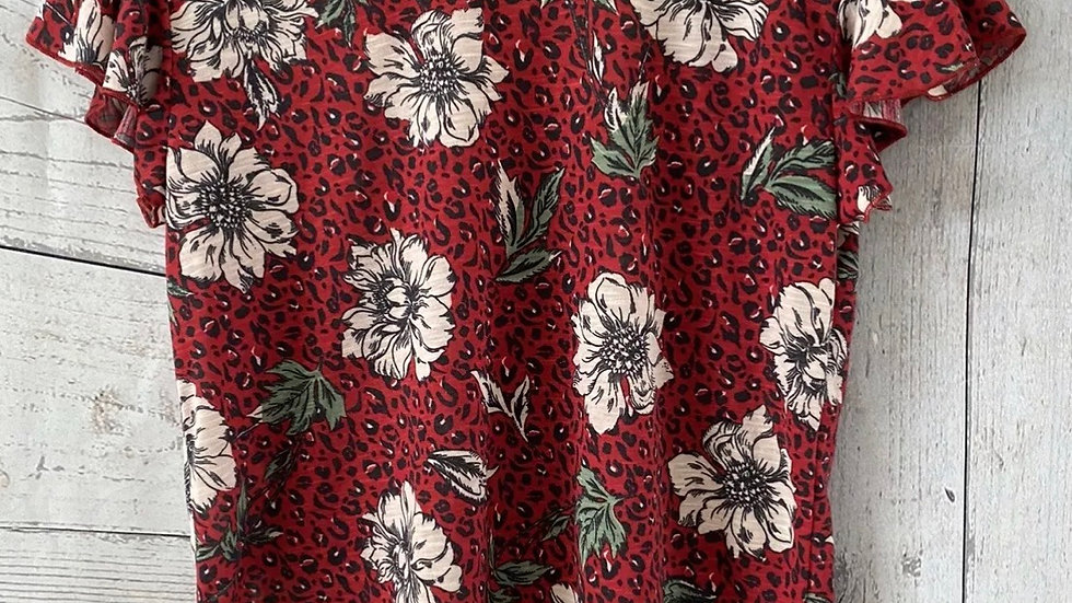 Womens / Ladies Marks & Spencer Per Una Red Floral T-Shirt Size 10 Immaculate