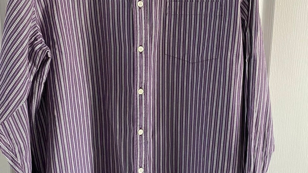 Mens Blue Harbour Purple & White Stripe Long Sleeve shirt Size X-large