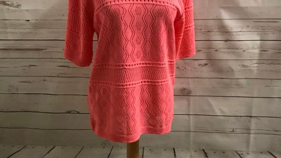 Women's / ladies pink glimpse crochet knit jumper size L/XL