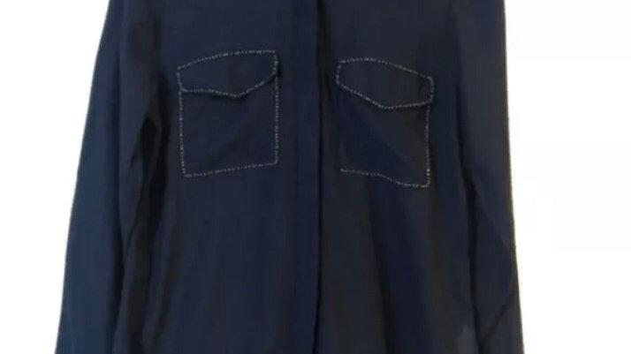 Women's / Ladies River Island Navy Blue Long Sleeve See Through Shirt Size 10