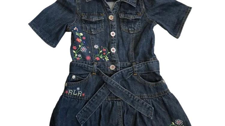 Girls Debenhams Little Rocha Denim Dress Age 18-24 Months Immaculate