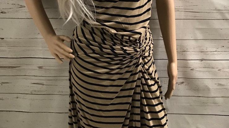 Womens / Ladies Dorothy Perkins Brown & Navy Scoop Neck Dress Size 16