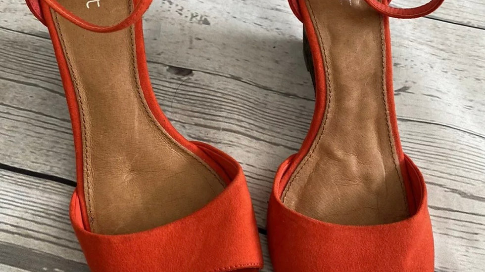 Womens / Ladies Next Red Suede Wedge Shoes Size 5.5 Uk Good Condition