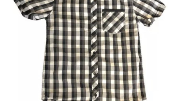Boys River Island Black Check Short Sleeve Shirt Age 9 Years Immaculate