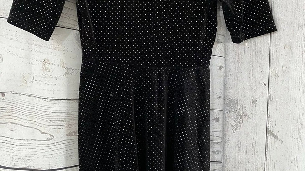 Girls Matalan Black Velvet And Gold Stud Dress Age 13 Years Immaculte Condition