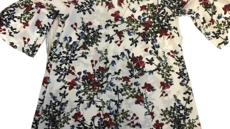 Womens / Ladies Pretty Little Thing White Floral Short Sleeve Dress Size 10